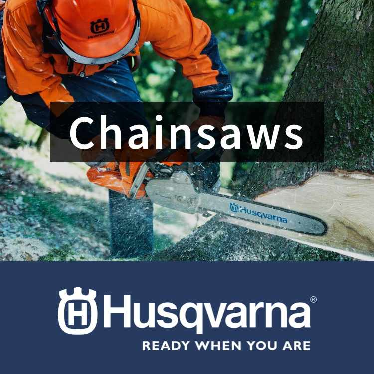 Husqvarna Chainsaws with chainsaw and logo