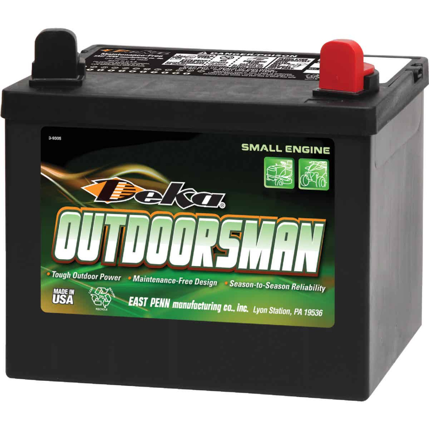 Deka Outdoorsman 12-Volt Lawn & Garden 300 CCA Small Engine Battery, Right Front Positive Terminal Image 1