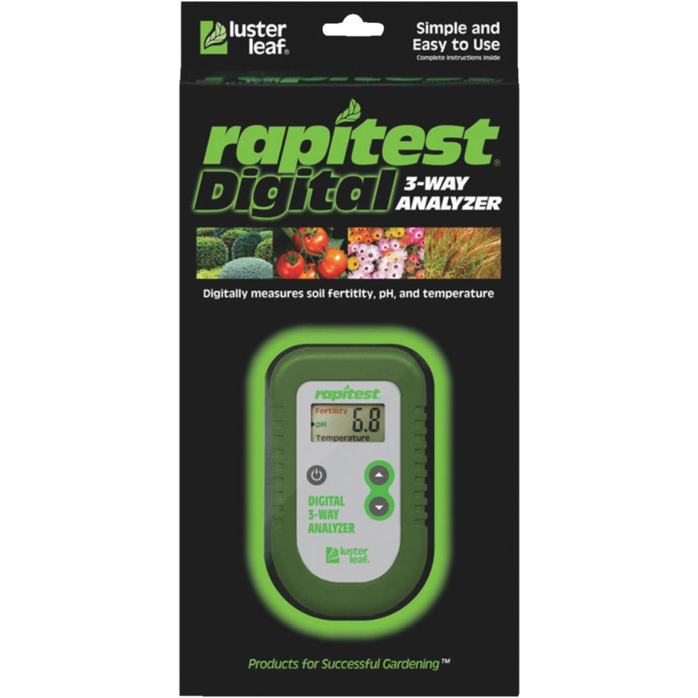 Rapitest Plastic w/Metal Probe 3-Way Digital Soil Tester Image 2