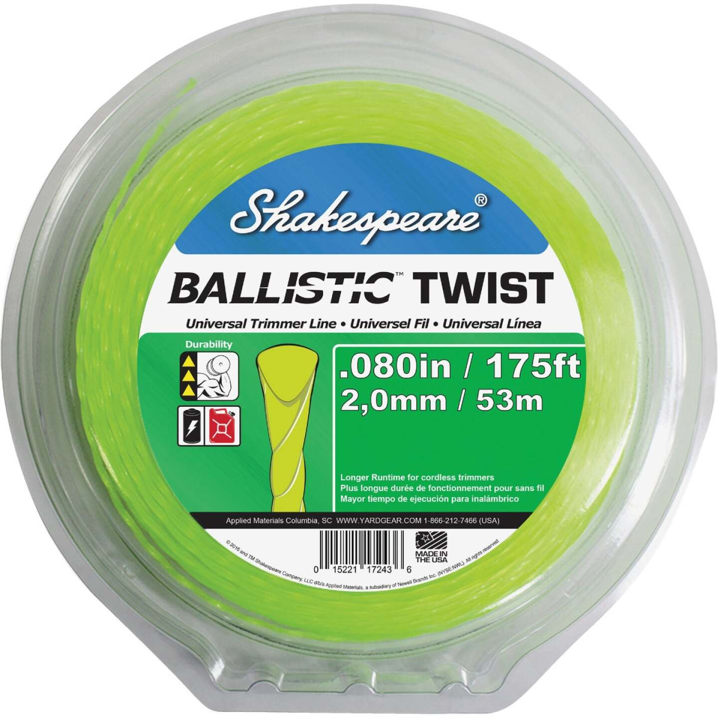 Shakespeare 0.80 In. x 175 Ft. Ballistic Twist Universal Trimmer Line Image 1