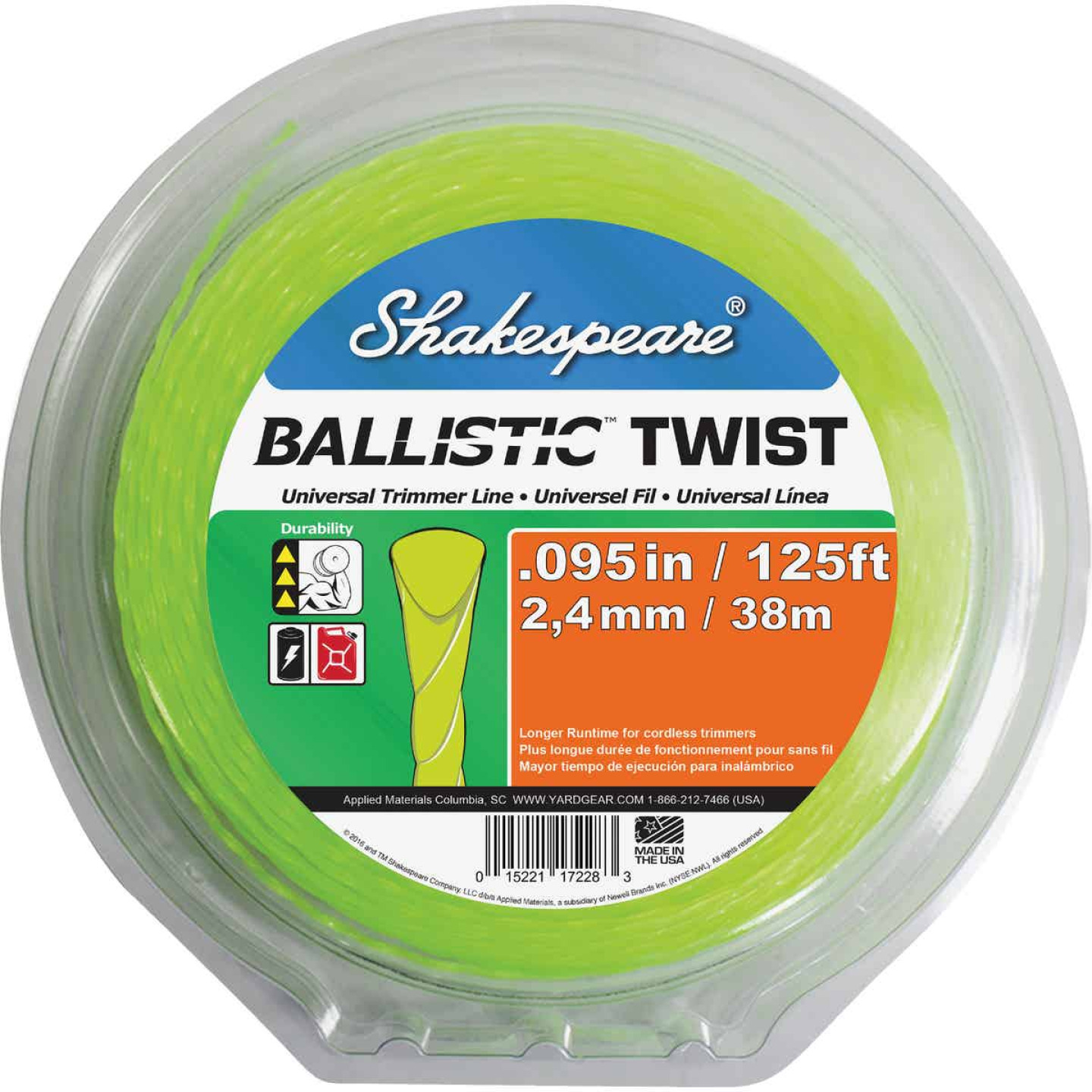 Shakespeare 0.095 In. x 125 Ft. Ballistic Twist Universal Trimmer Line Image 1