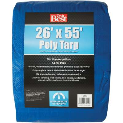 Do it Best Blue Woven 26 Ft. x 55 Ft. Medium Duty Poly Tarp