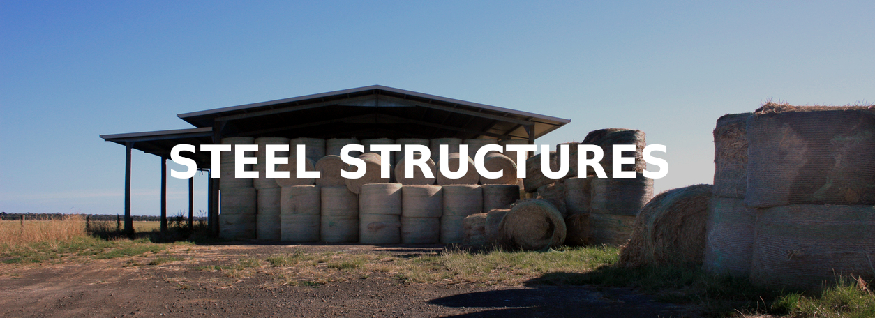 Steel Structures - Hay shed with round bales inside